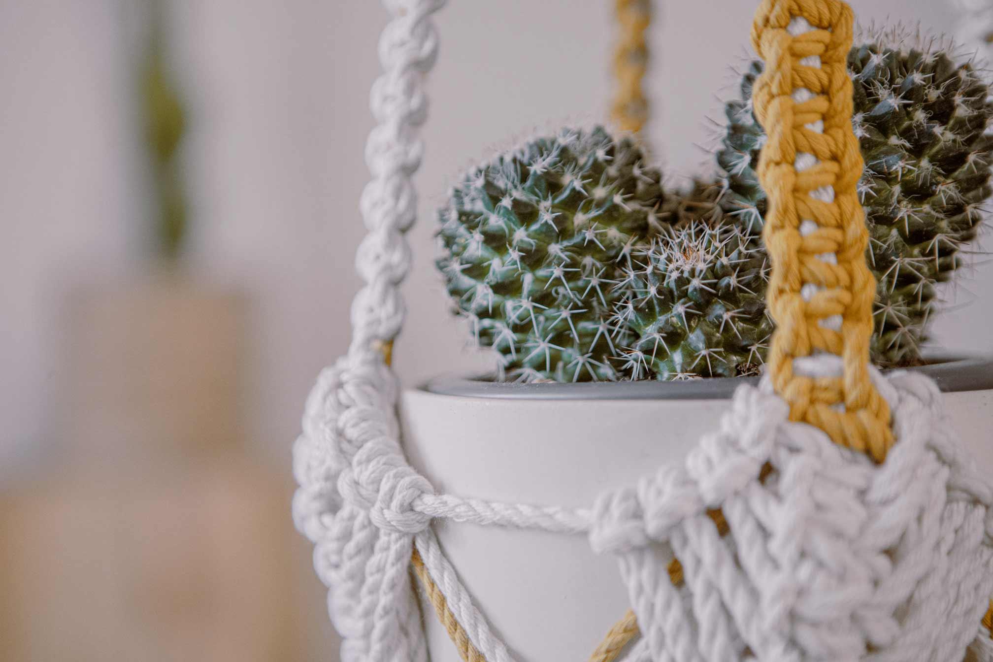 Detalle de los nudos de un macetero artesanal de macramé hecho de algodón ecológico en color crudo y mostaza